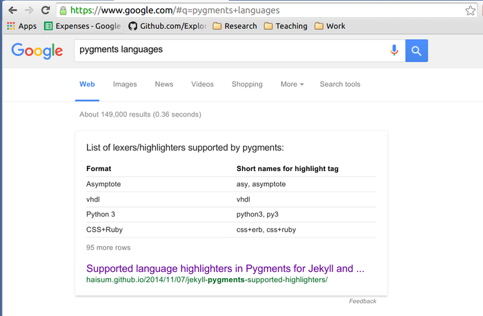 Google tables pygments jekyll highlighters